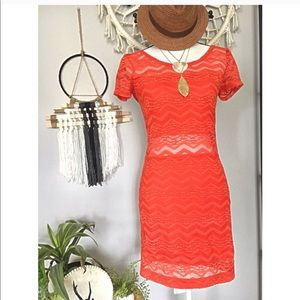 Free People lace orange mini-dress. Size small.